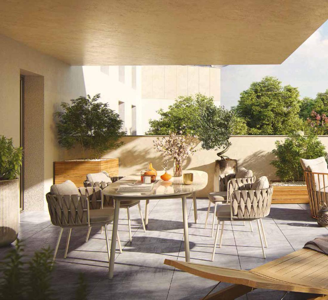 Terrasse de l'ensemble immobilier neuf à Bordeaux