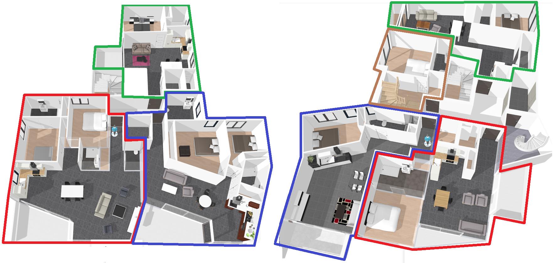 Plan intérieur de niveau - vue de dessus et meublé