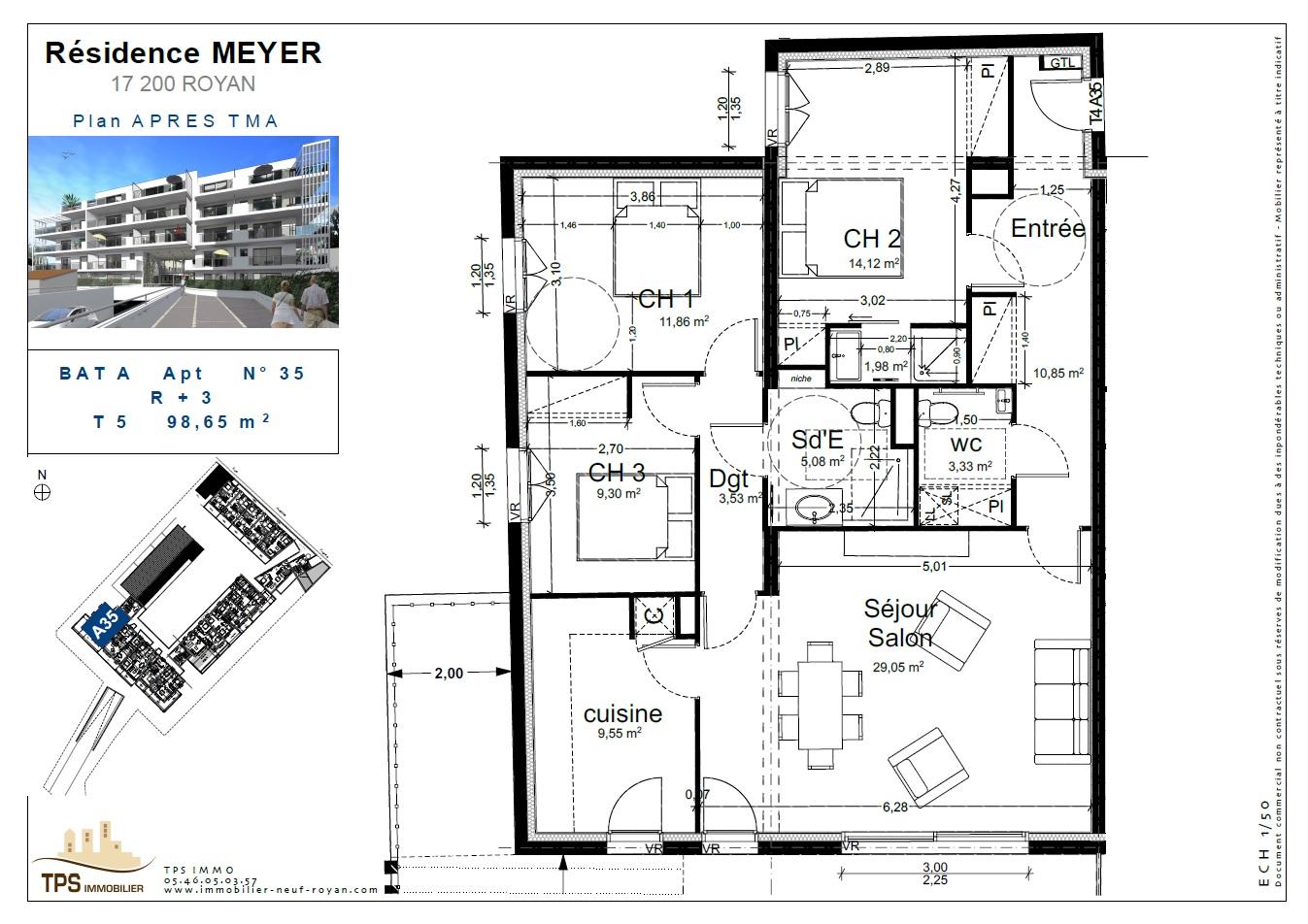 T5 de 98 m² avec grand balcon