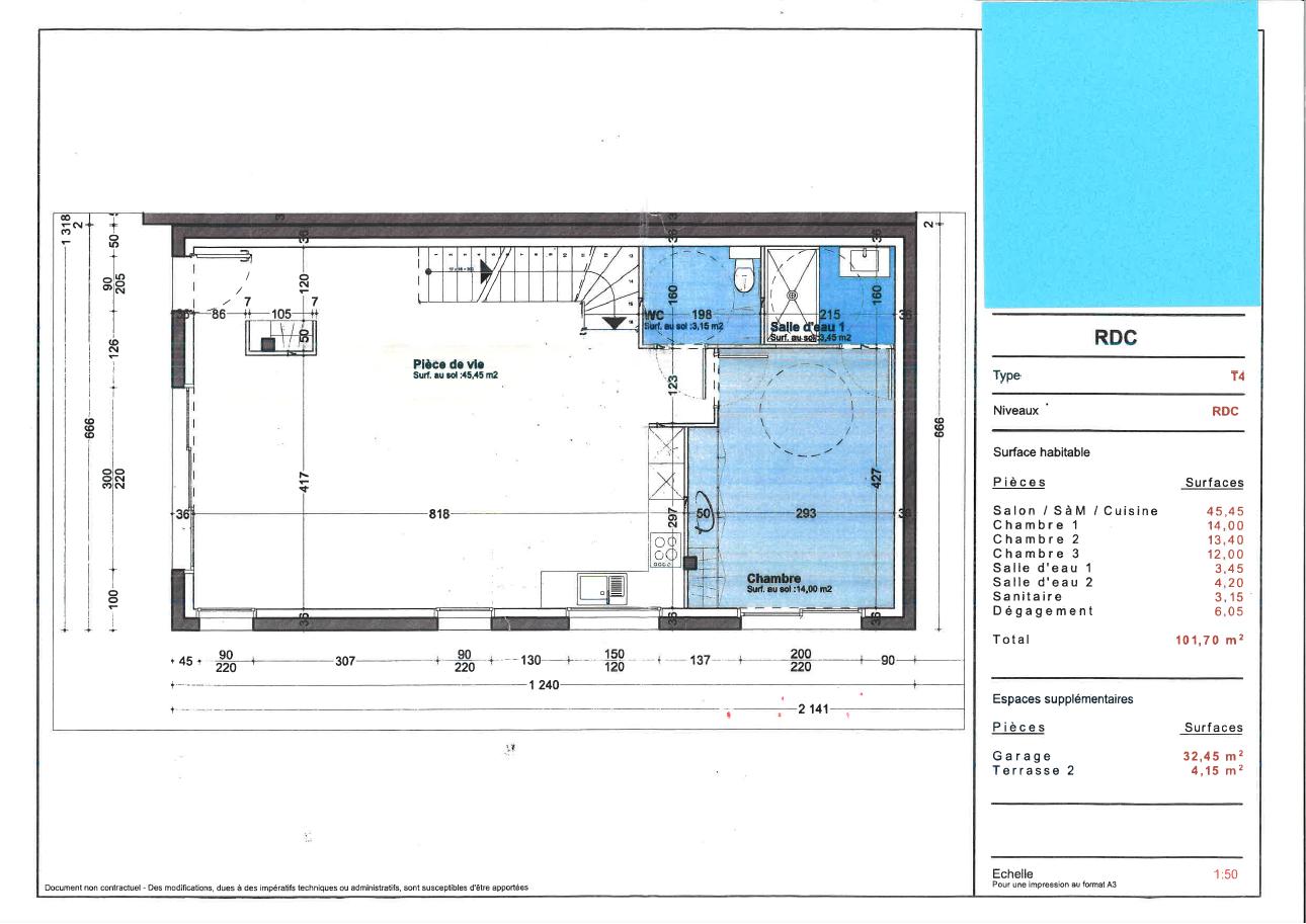 Plan du Rés-de-chaussée d'une maison neuve à Royan