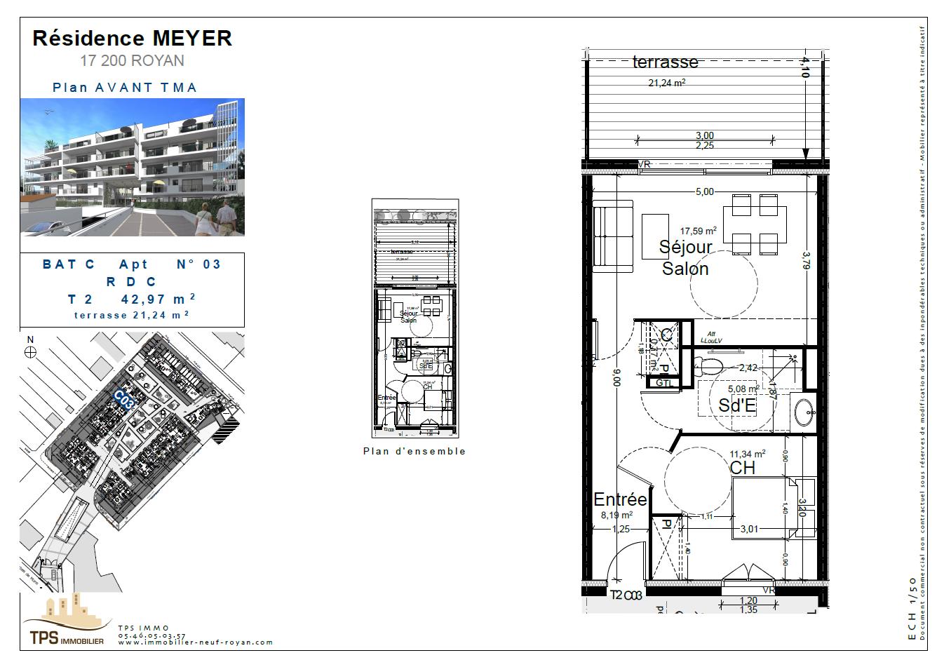 2 pièces 43 m² avec terrasse 21 m²
