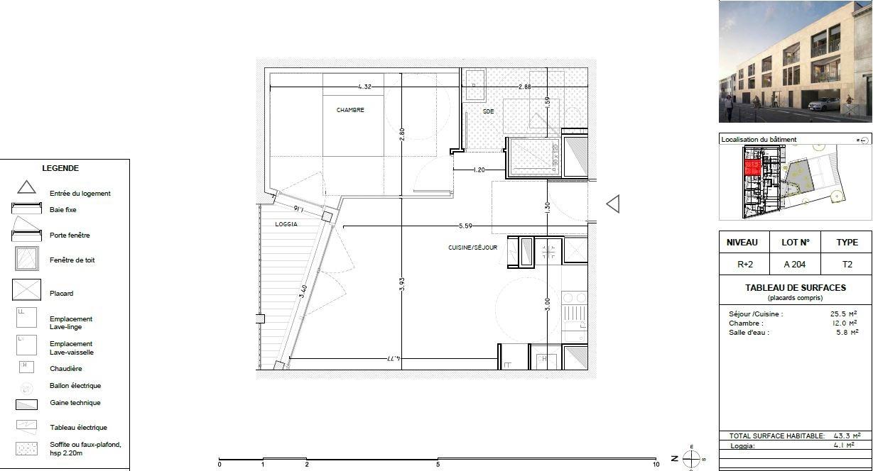 Appartement Neuf à Bordeaux - Plan d'un 2 pièces