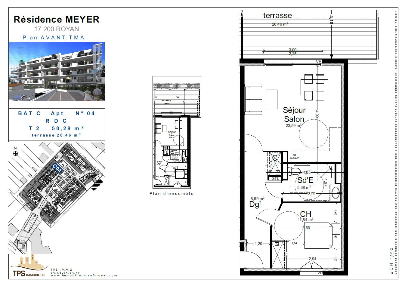 2 pièces 50 m² avec terrasse 28 m²