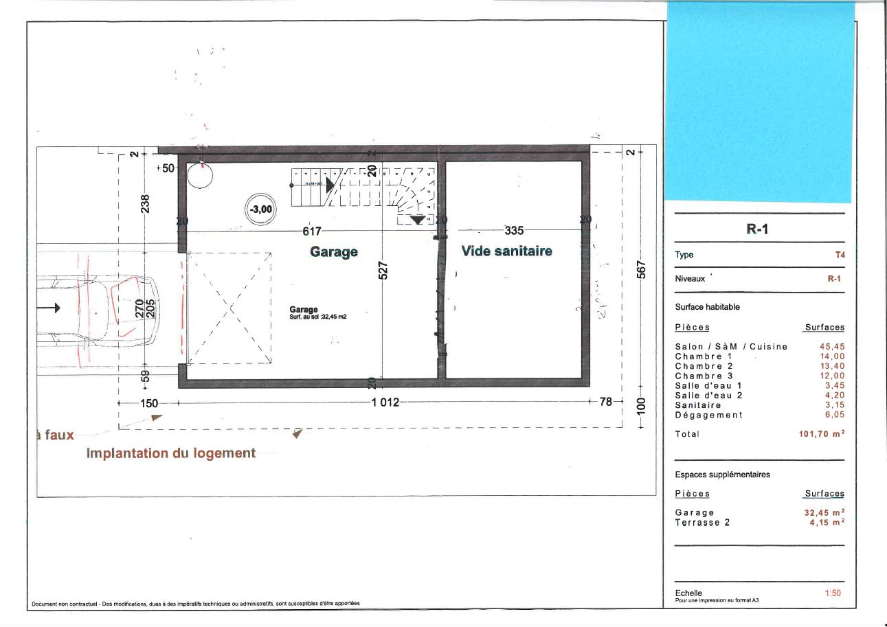 Plan du sous sol d'une maison neuve à Royan