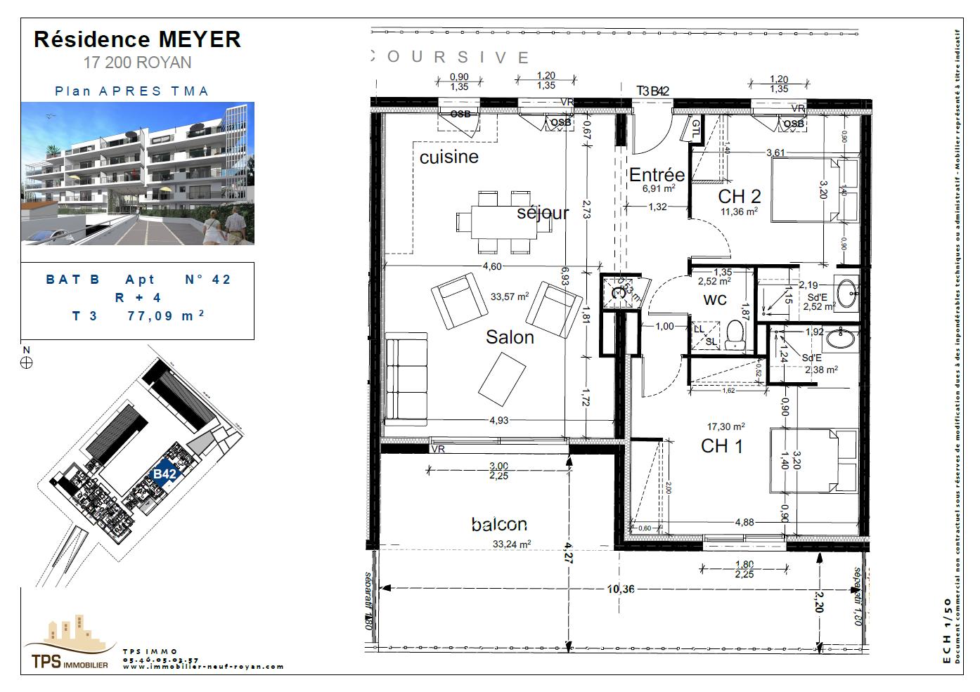 3 pièces de 77m² avec terrasse 33 m²