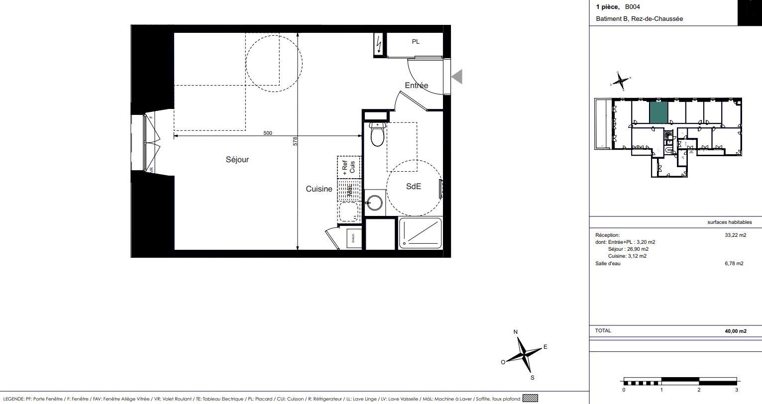 Appartement Neuf La Rochelle, plan d'un studio