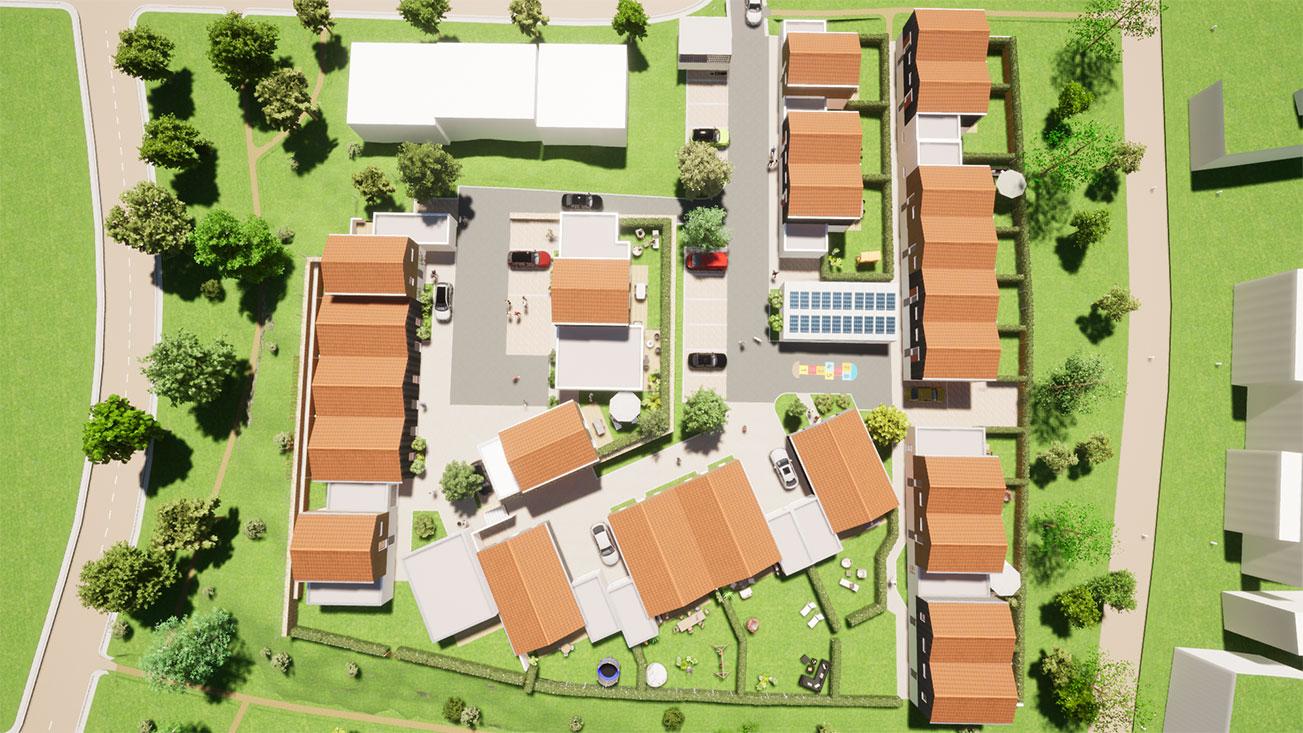 Vue aérienne des maisons neuves à Vaux Sur Mer