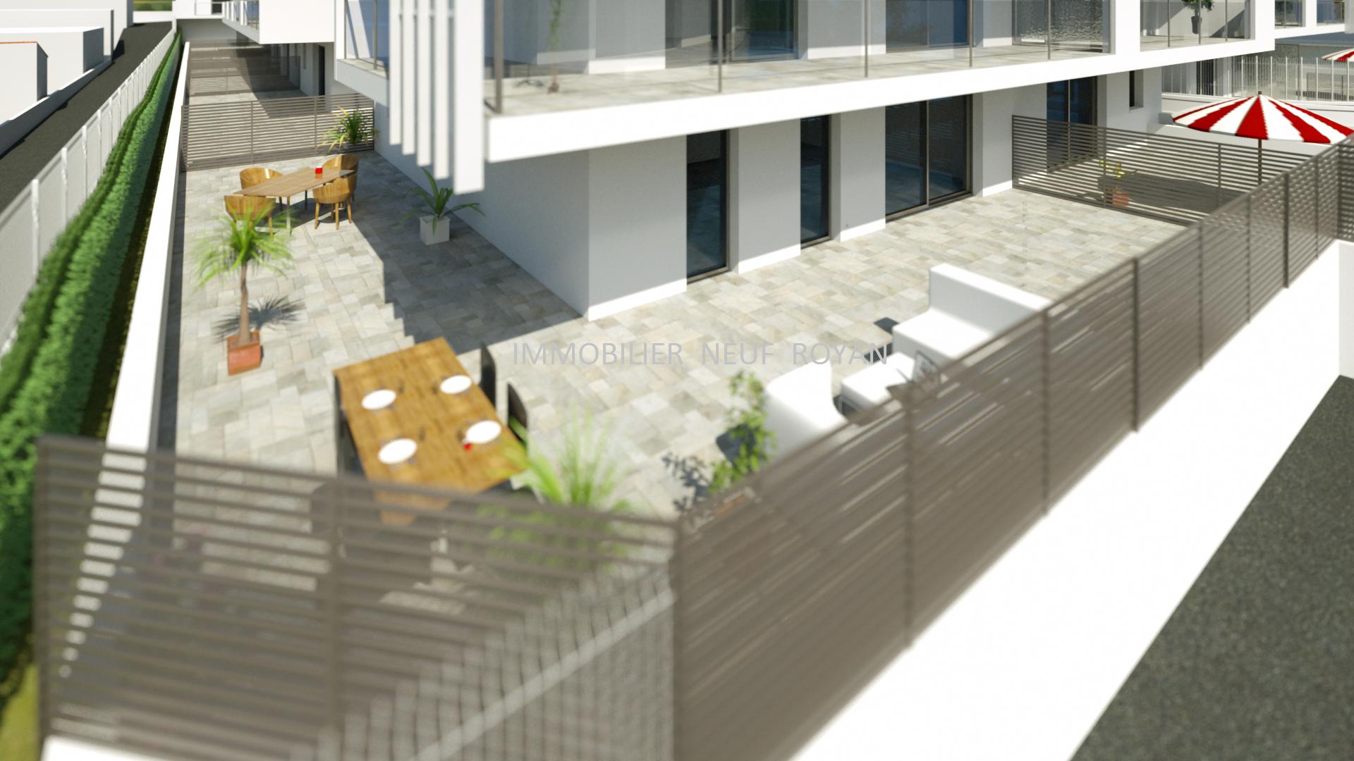 Terrasse  99m² appartement 4 pièces en Res de chaussée