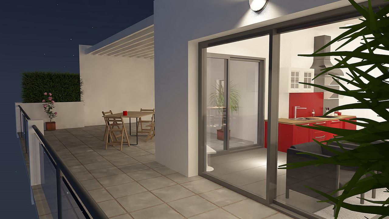Terrasse d'un appartement 3 pièces
