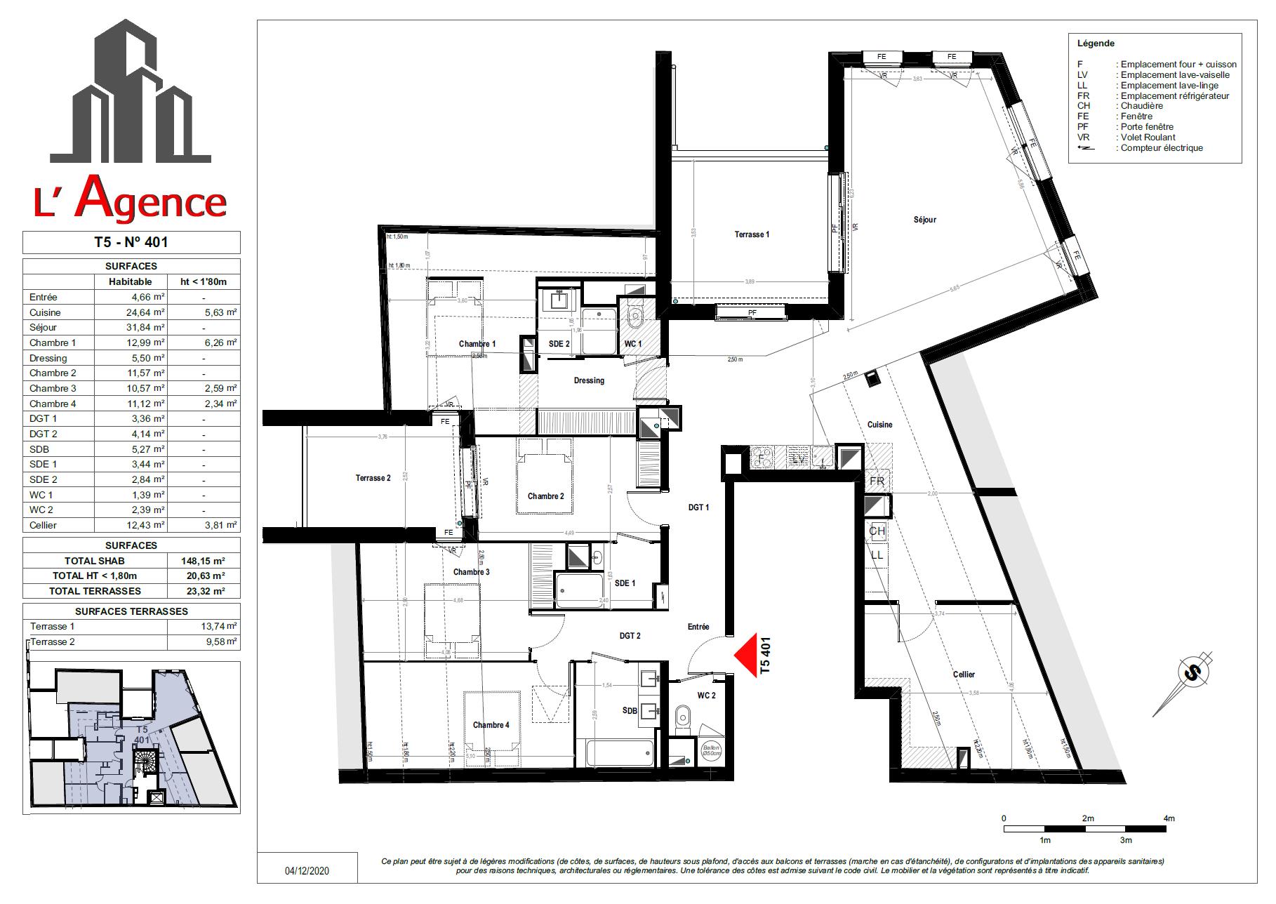 Plan d'un Appartement 5 pièces Neuf typé LOFT