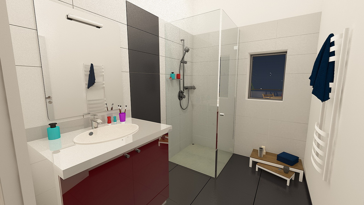 Salle d'eau d'un appartement 3 pièces