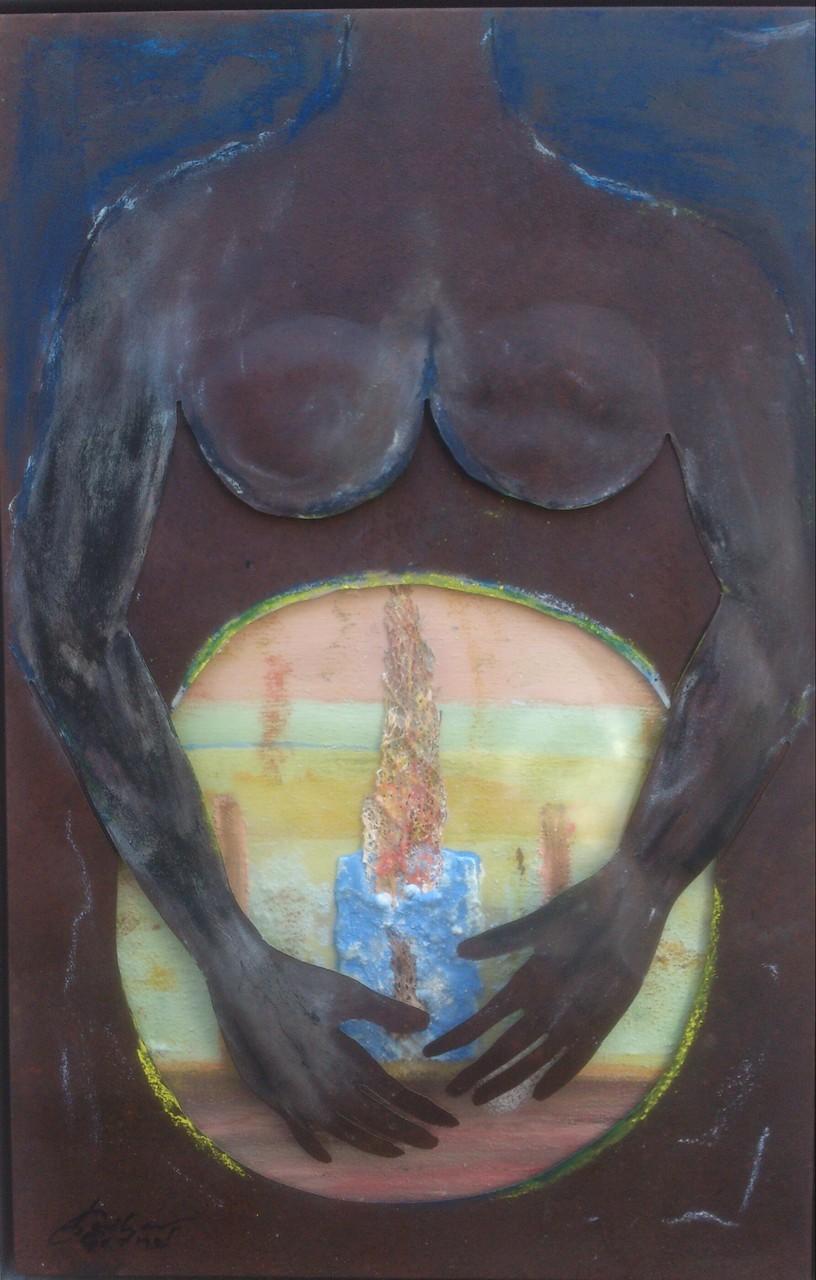 """""""Geschützte Werdung"""" Acryl-Collage, Blech, Holz, Plexiglas 77x50cm"""