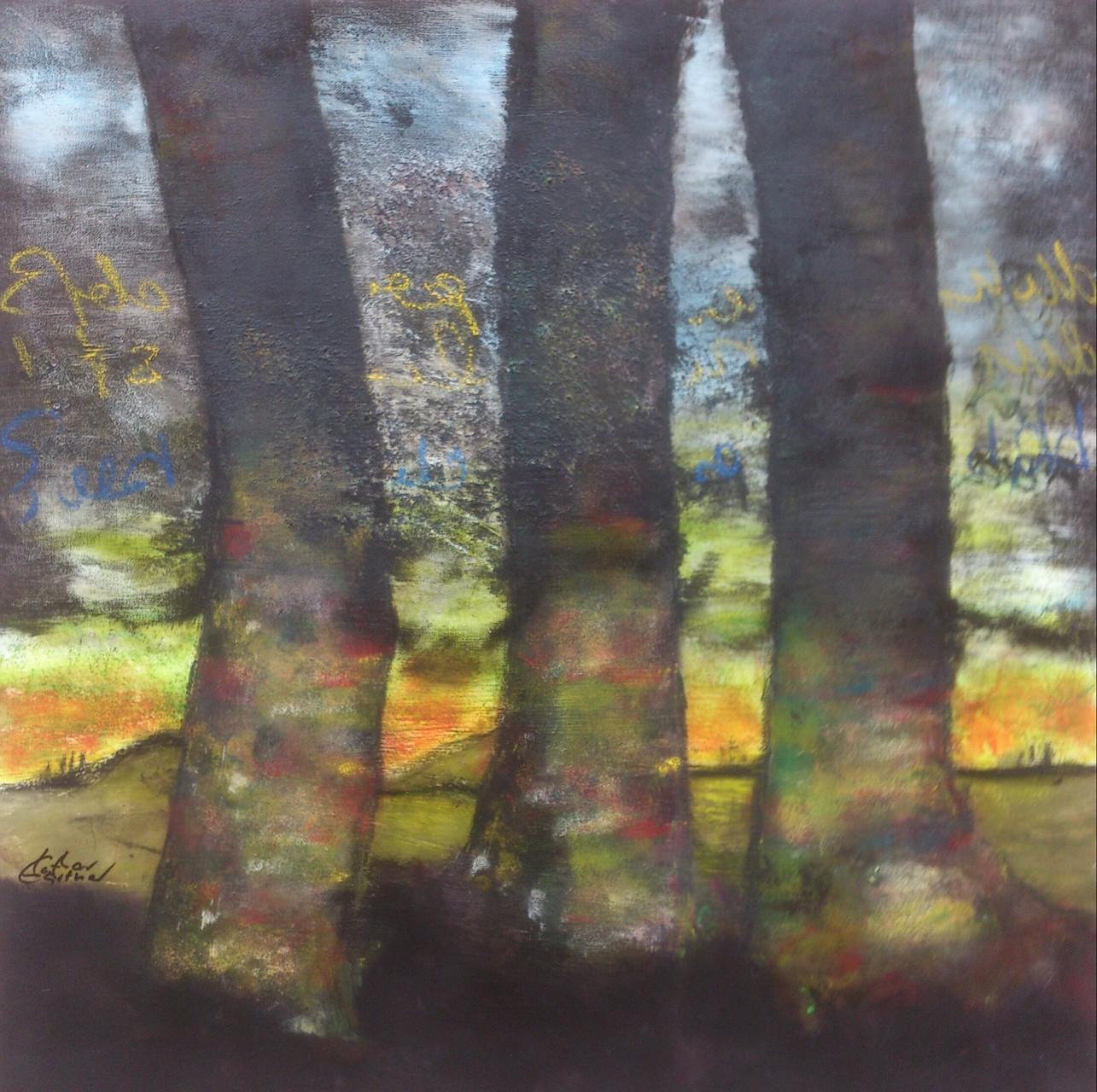 """Landschaft V"" Acryl auf Leinwand 80x80x4cm"