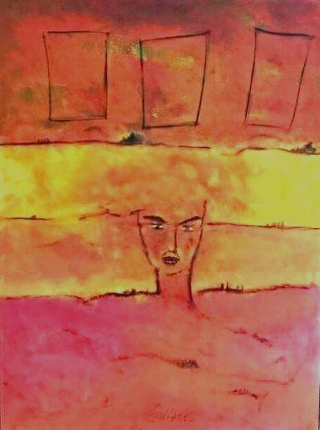 """""""Mensch in der Schöpfung I"""" Acryl/Pigment auf Leinwand 120x160cm"""
