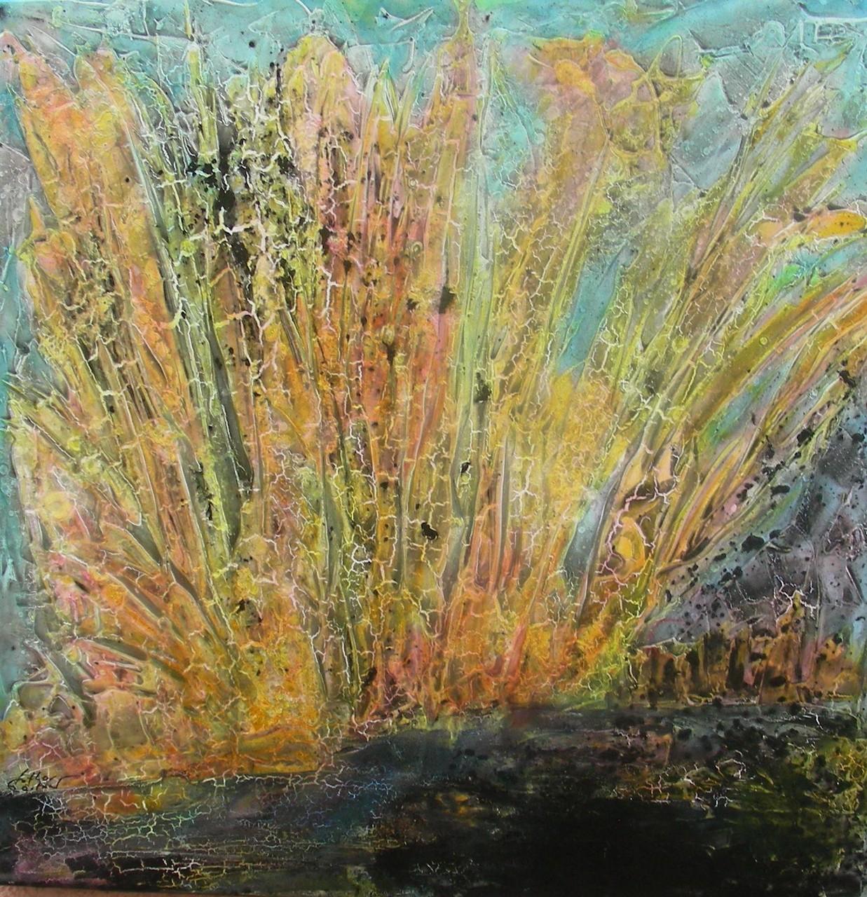 """Landschaft VI"" Acryl auf Leinwand 100x100x4cm"