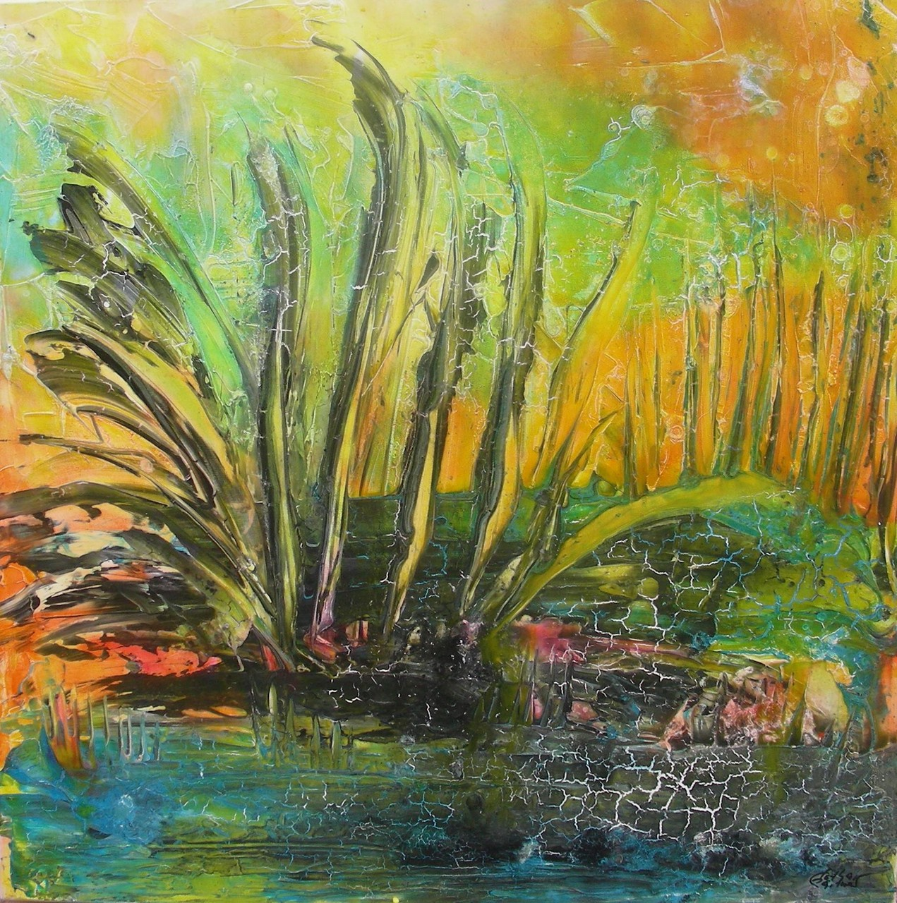 """Pflanzen am Wasser I"" Acryl auf Leinwand 100x100x4cm"
