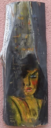 """o.T."" Acryl/Pigment auf Kirschholz 84x32cm"
