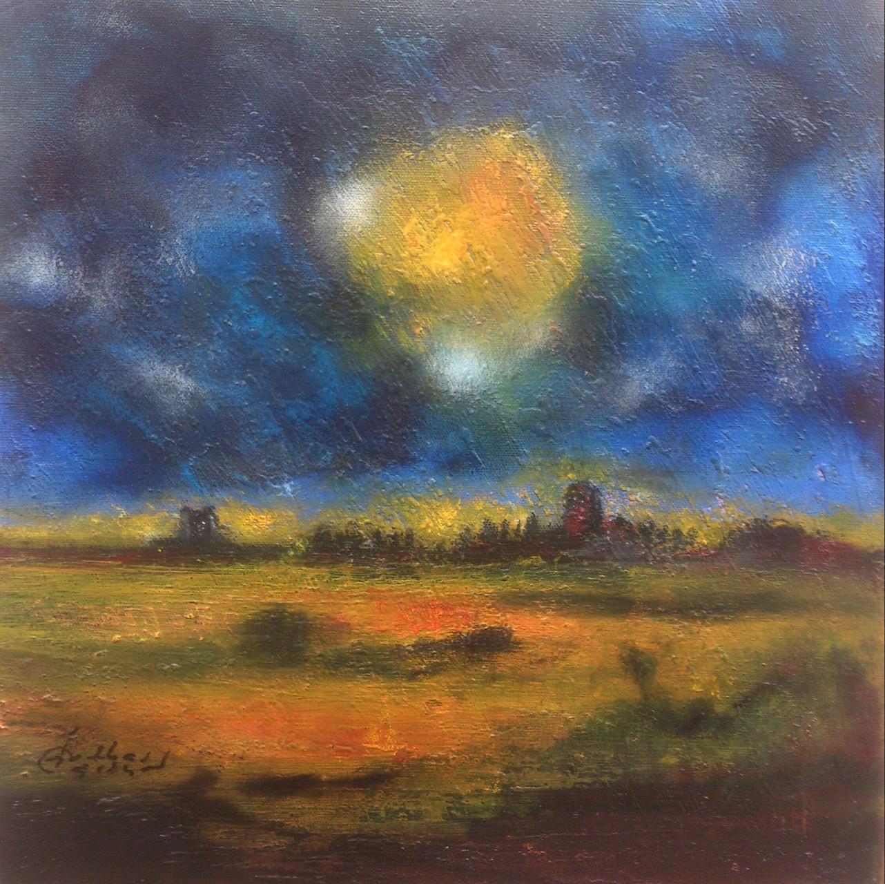 """Landschaft IV"" Acryl/Pigment auf Leinwand 40x40x8cm"