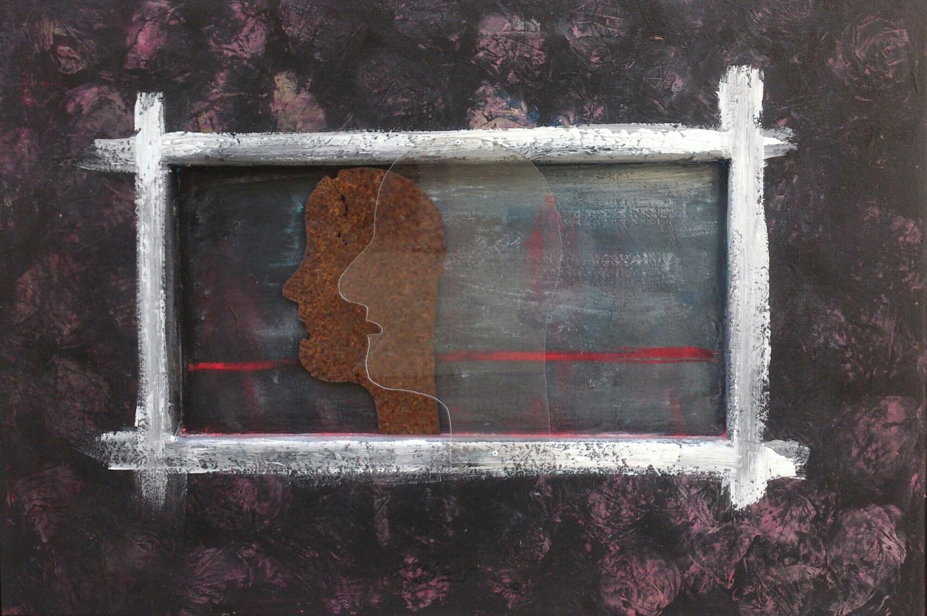 """Grauzone"" Acryl/Plexiglas/Blech auf Holz und Leinwand  70x100cm"