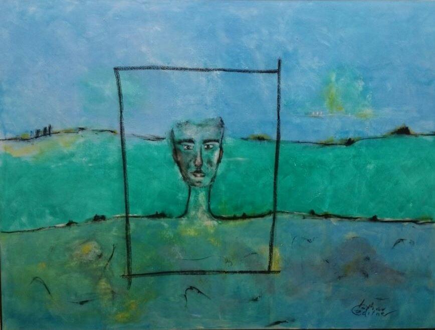 """""""Mensch in der Schöpfung II"""" Acryl/Pigment auf Leinwand 120x160cm"""