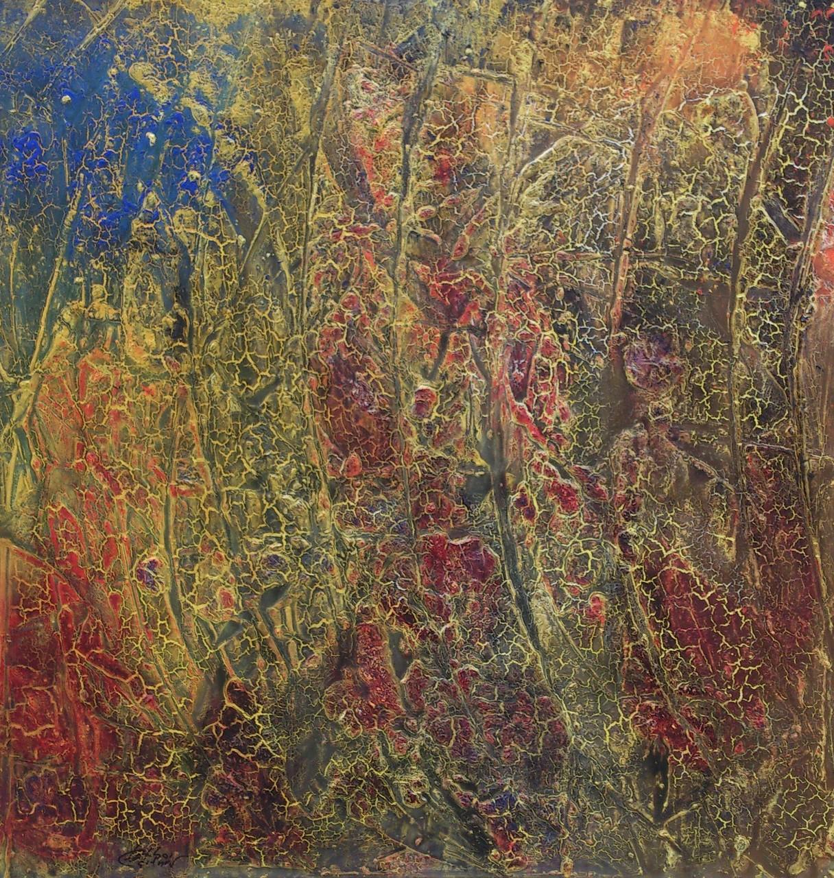 """""""Die Farben der 3.Jahreszeit"""" Acryl auf Leinwand 100x100x4cm"""