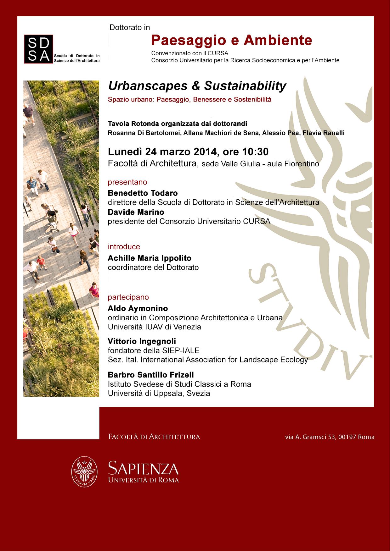 Urbanscapes & Sustainability. Spazio urbano: Paesaggio, Benessere e Sostenibilità - © A. Pea, R. Di Bartolomei, A. Marchiori, F. Ranalli