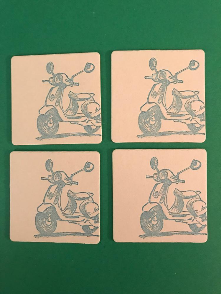 Vintage Vespa Letterpress Coaster Set