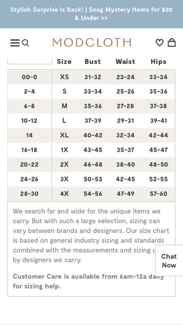 Modcloth' sizing Chart