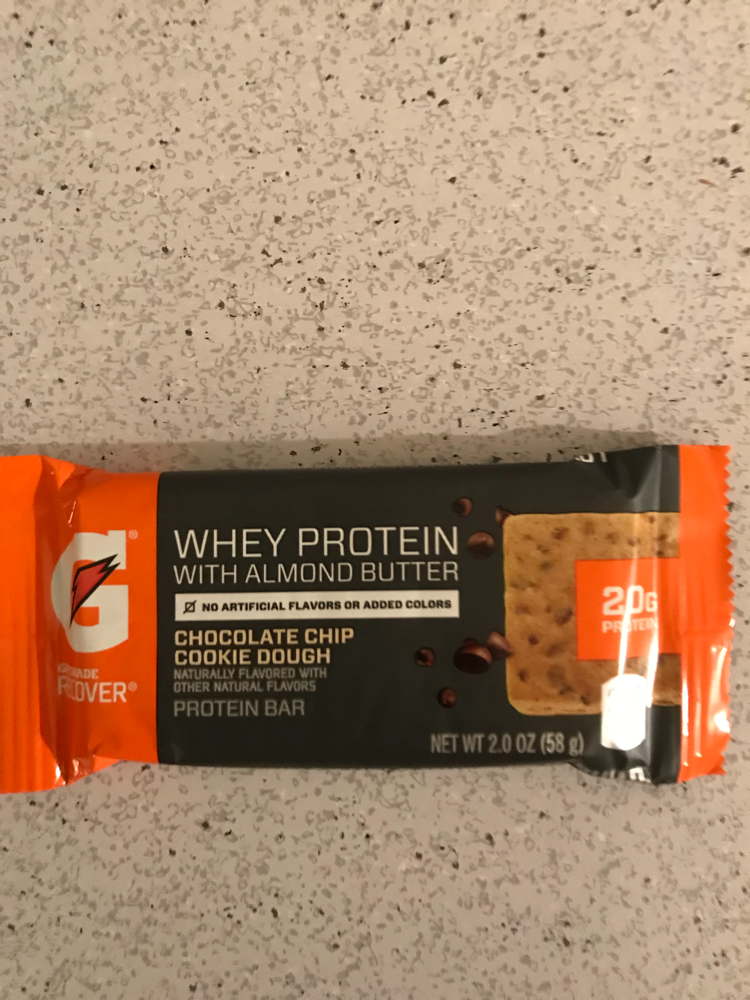 Gatorade whey protein with almond butter chocolate chip cookie dough