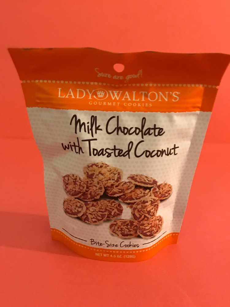 Lady Waltons Milk Chocolate with toasted coconut bite size cookies