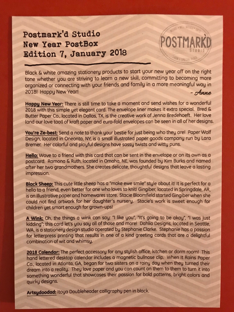 Postmark'd Studio New Year Post Box Item descriptions