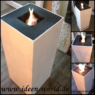 Deko Holz Säulen mit Feuerstelle