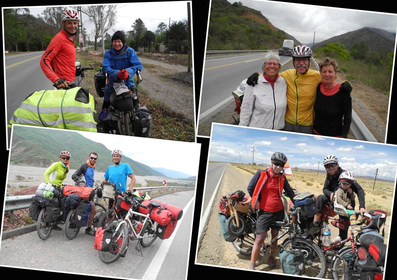Nur eine kleine Auswahl der Radfahrer, die wir in ein paar Tagen auf der Panamericana trafen