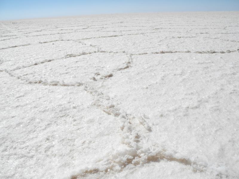Die Salzoberfläche zeigt sich in Wabenstruktur
