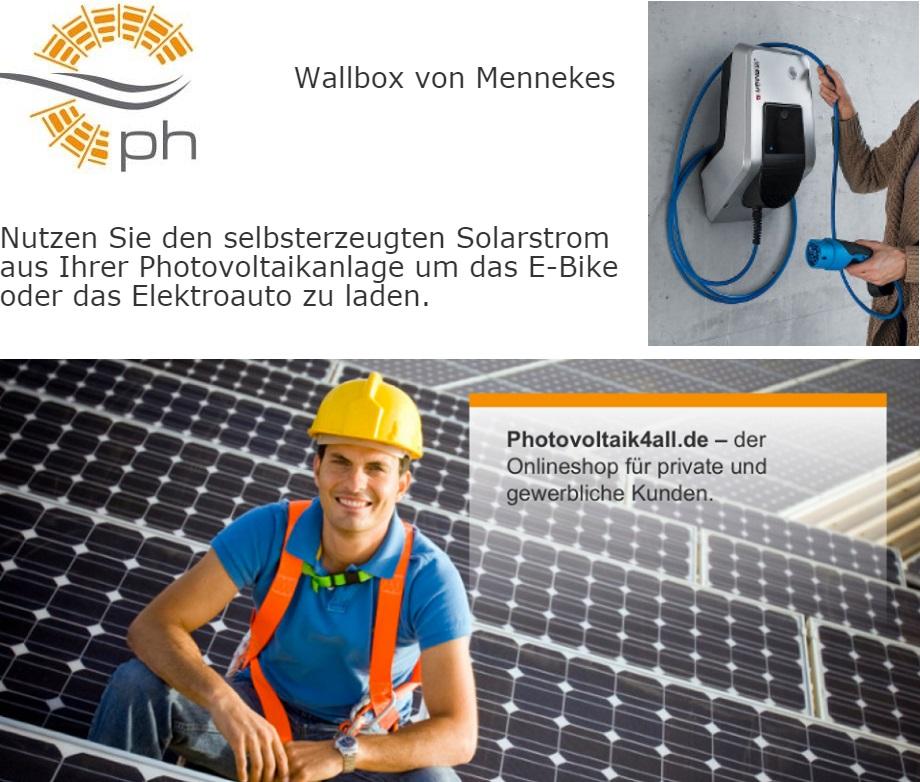 Wallbox von Mennekes: Nutzen Sie den selbsterzeugten Solarstrom aus Ihrer Photovoltaikanlage, um das E-Bike oder das Elektroauto zu laden.