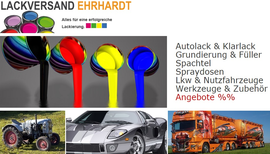 LACKVERSAND EHRHARDT - Autolack & Klarlack, Grundierung & Füller, Spachtel, Spraydosen, vieles für Lkw & Nutzfahrzeuge, Werkzeuge & Zubehör, Angebote.