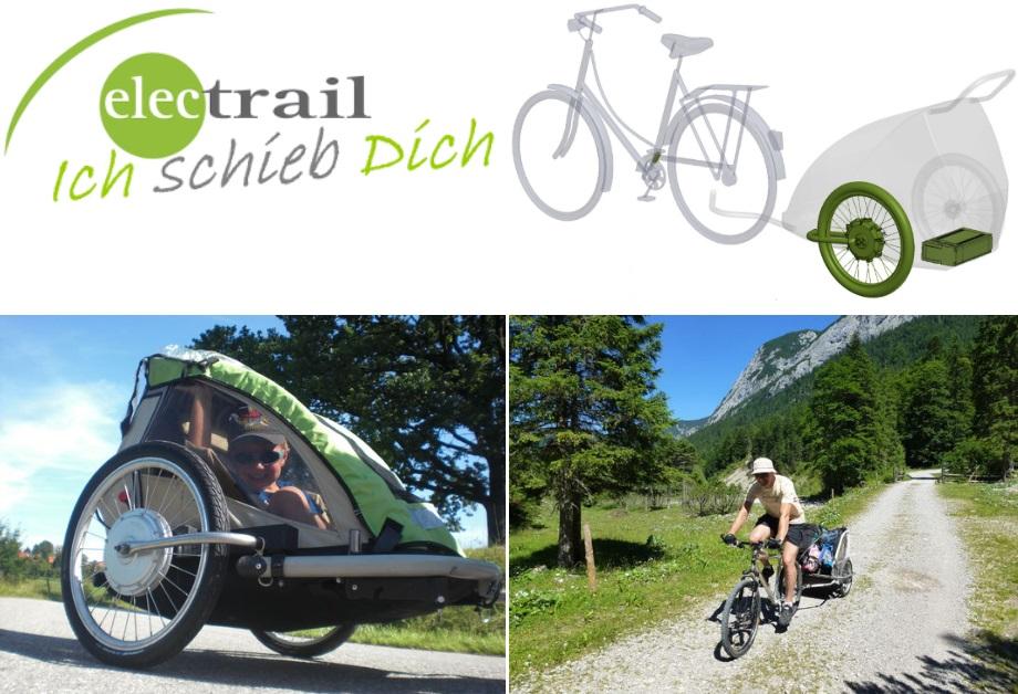 ICH SCHIEB DICH steht für die Idee: Anhänger schiebt Fahrrad.  Schubanhänger bieten viel Stauraum und treiben das Gespann an. Das Fahrrad bleibt wie es ist. Die Steuerung des Motors erfolgt kabellos.