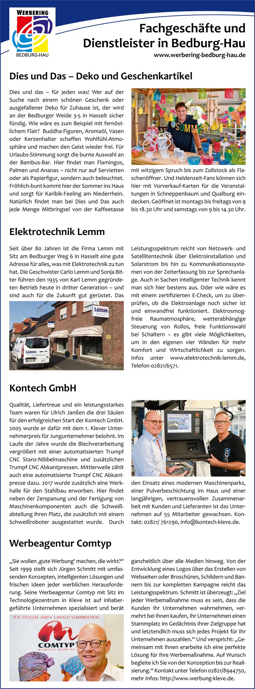 Elektro Lemm, Kontech GmbH, Dies und Das Geschenkeartikel und Werbeagentur Comtyp sind vier von über 80 erfolgreichen Unternehmen des Werbering Bedburg-Hau präsentieren sich.