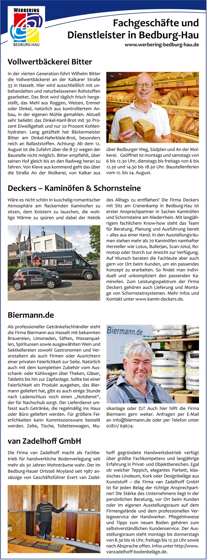 Vier erfolgreiche Unternehmen des Werbering Bedburg-Hau präsentieren sich.