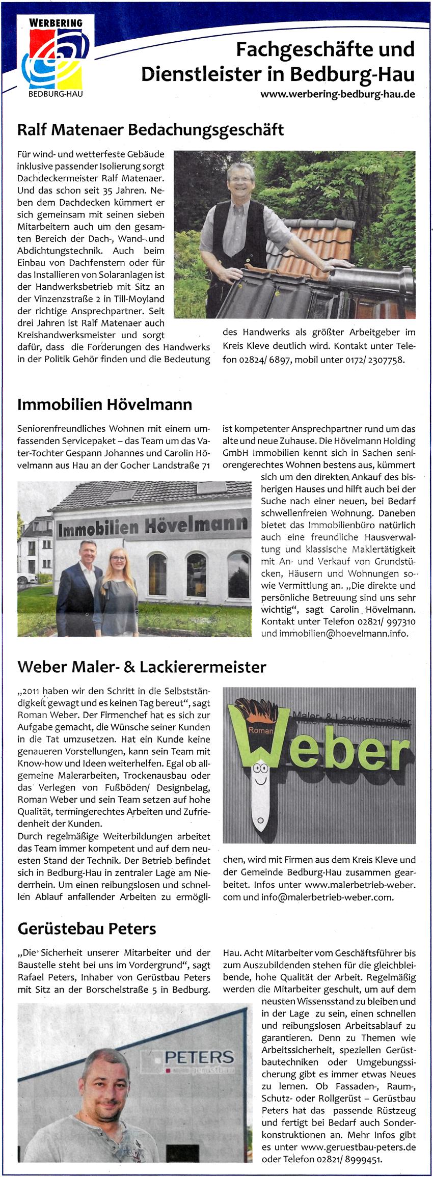 3. Teil der Firmenvorstellungen der Mitglieder des Werbering Bedburg-Hau.