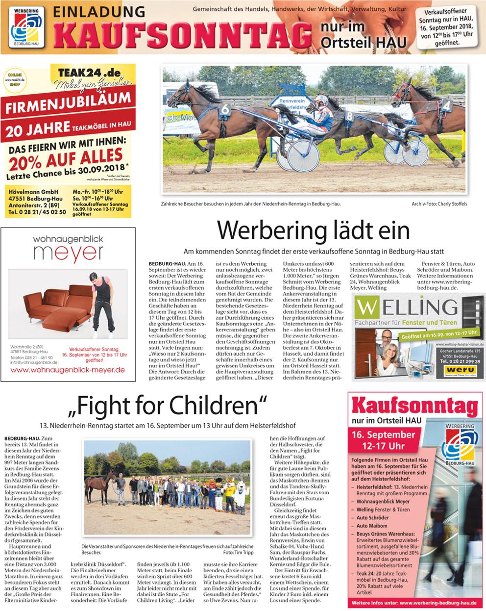 Klever Wochenblatt berichtet über den kaufsonntag in Bedburg-Hau mit dem Renntag auf dem heisterfeldshof.