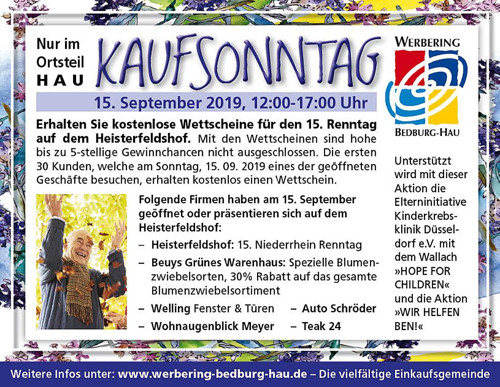 Verkaufsoffener Sonntag, 15 September in Bedburg-Hau – nur im Ortsteil Hau mit Renntag auf dem heisterfeldshof.