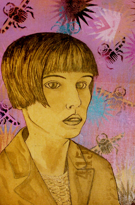 1930's girl, Ink and Spray Paint on found Cardboard, 2006