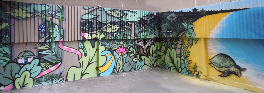 Me and my mate Ziggy created this mural with the help of local young people.