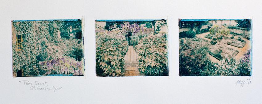 Paris Secret, Jardin de l'église Saint-François Xavier, transfert d'image polaroid, 2001, 1/1, © Annick Maroussy