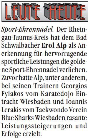 Erol Alp in der Lokalzeitung am 15. Mai 2016
