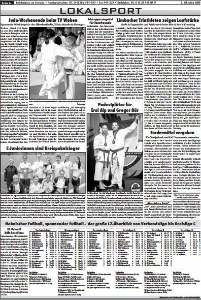 Erol Alp in der Lokalzeitung am 10. Oktober 2016