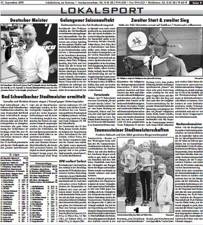 Erol Alp in der Lokalzeitung am Sonntag, Lokalsport,  27. September 2015