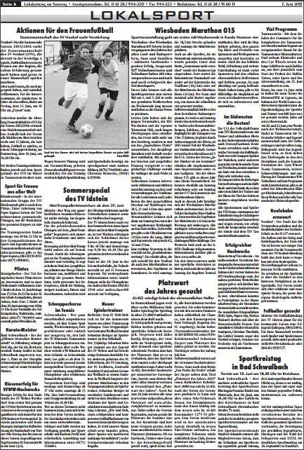 Erol Alp in der Lokalzeitung, 7. Juni 2015, Lokalsport
