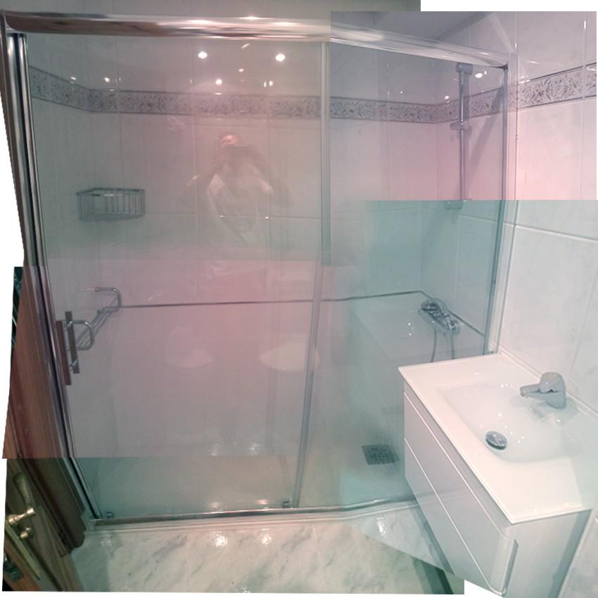 cambio de bañera a ducha con mampara fijo+puerta corredera